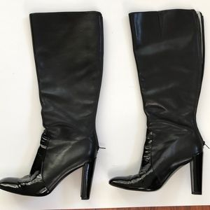Kenneth Cole black leather boots knee-high